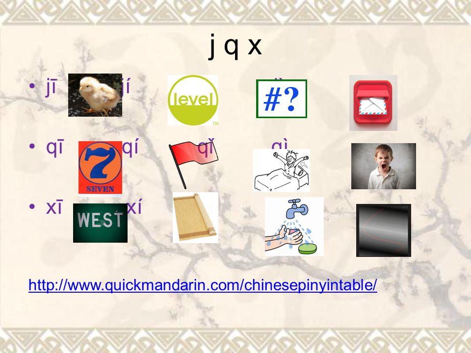 21 initials b p m f (Bàba, pīn yīn,Māma,fēichánghǎo) d t n l (dìdi, tā, nǐ,xià kè le) g k h (gēge, kàn lăoshī, he shui) j q x (jiào, qī, Xièxiè) z c s