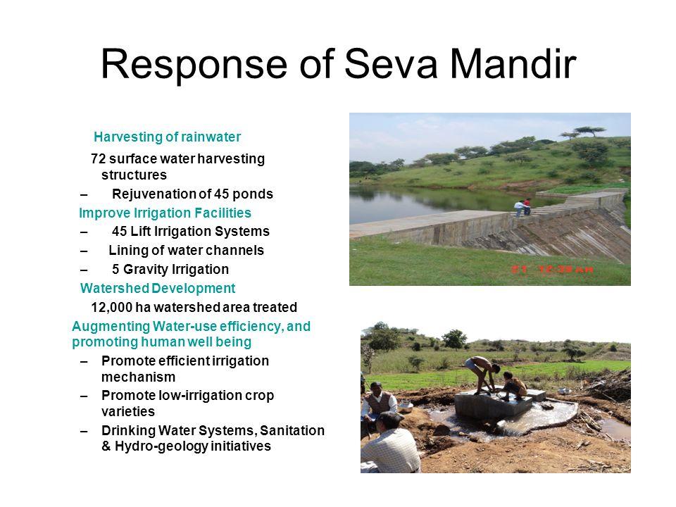 Response of Seva Mandir Harvesting of rainwater 72 surface water harvesting structures – Rejuvenation of 45 ponds Improve Irrigation Facilities – 45 L