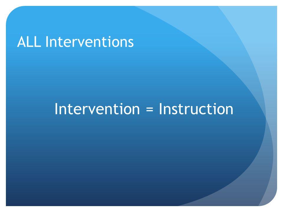 ALL Interventions Intervention = Instruction