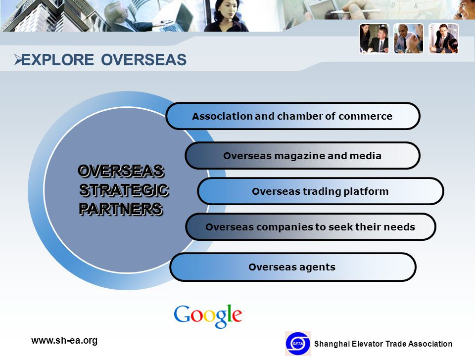 Shanghai Elevator Trade Association www.sh-ea.org  EXPLORE OVERSEAS Association and chamber of commerce Overseas magazine and media Overseas trading platform Overseas companies to seek their needs Overseas agents OVERSEASSTRATEGICPARTNERSOVERSEASSTRATEGICPARTNERS