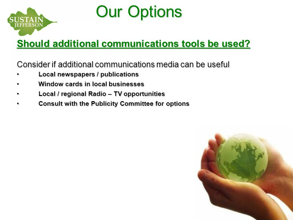 Our Options Should additional communications tools be used.