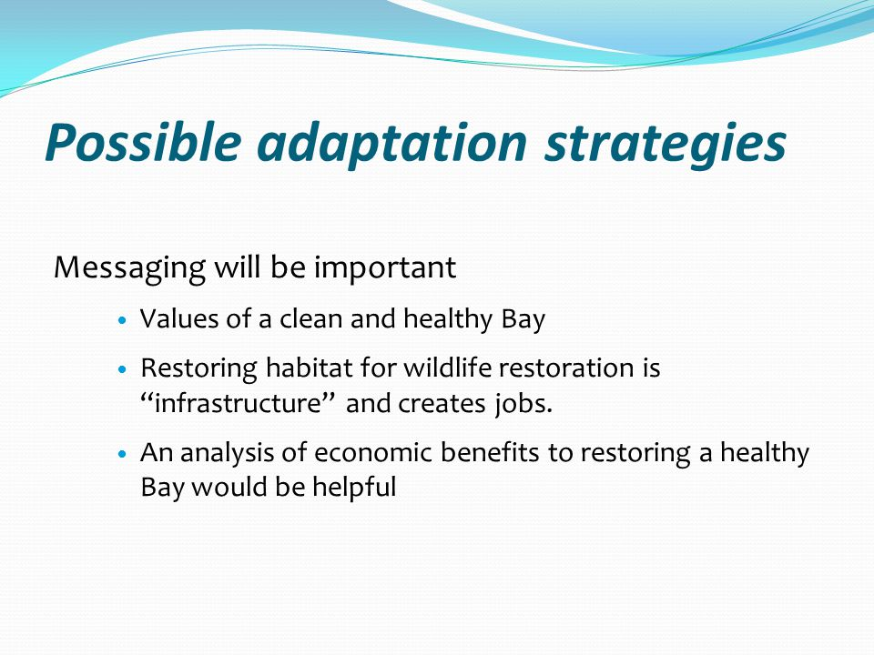 Possible adaptation strategies Messaging will be important Values of a clean and healthy Bay Restoring habitat for wildlife restoration is infrastructure and creates jobs.