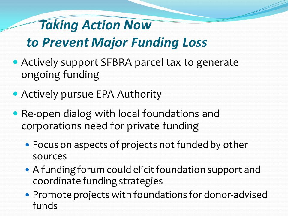 Taking Action Now to Prevent Major Funding Loss Actively support SFBRA parcel tax to generate ongoing funding Actively pursue EPA Authority Re-open dialog with local foundations and corporations need for private funding Focus on aspects of projects not funded by other sources A funding forum could elicit foundation support and coordinate funding strategies Promote projects with foundations for donor-advised funds