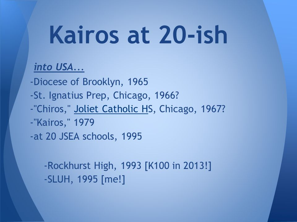 into USA...-Diocese of Brooklyn, 1965 -St. Ignatius Prep, Chicago, 1966.