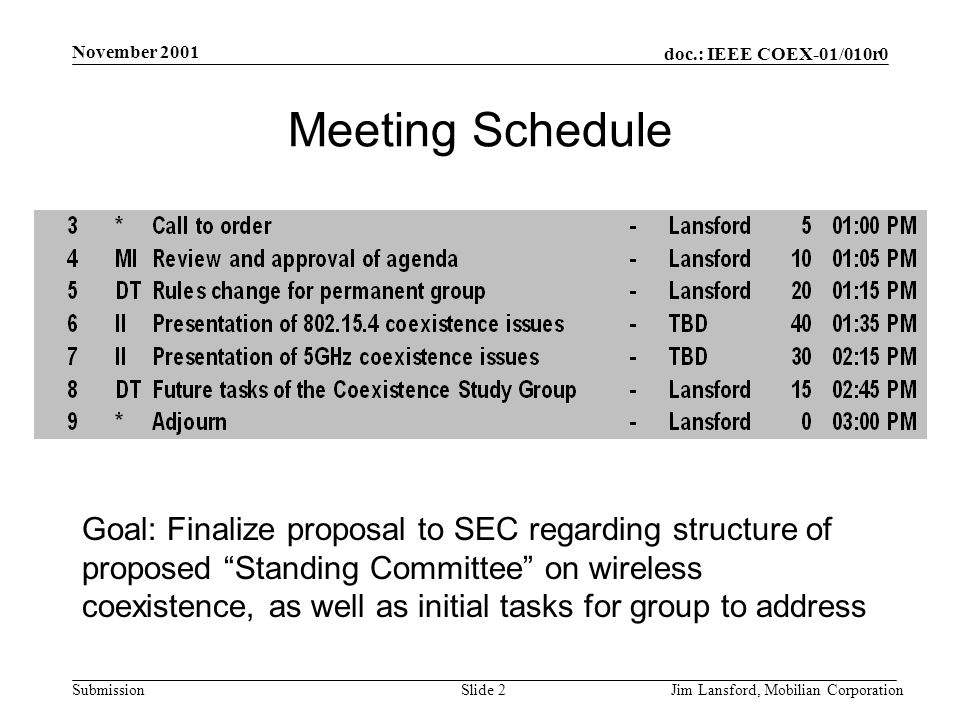 doc.: IEEE COEX-01/010r0 Submission November 2001 Jim Lansford, Mobilian CorporationSlide 2 Meeting Schedule Goal: Finalize proposal to SEC regarding structure of proposed Standing Committee on wireless coexistence, as well as initial tasks for group to address
