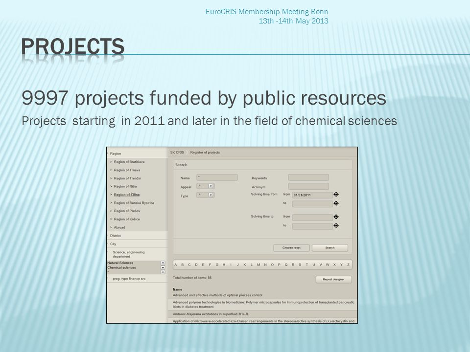 9997 projects funded by public resources Projects starting in 2011 and later in the field of chemical sciences EuroCRIS Membership Meeting Bonn 13th -14th May 2013