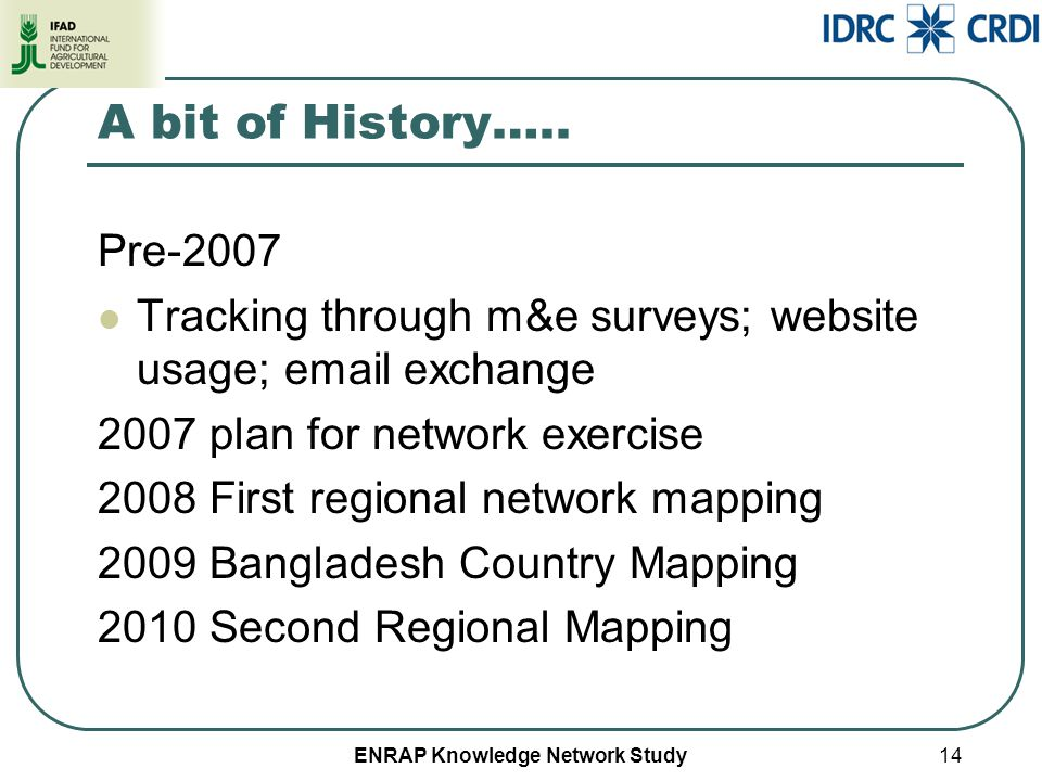 ENRAP Knowledge Network Study A bit of History….. Pre-2007 Tracking through m&e surveys; website usage; email exchange 2007 plan for network exercise