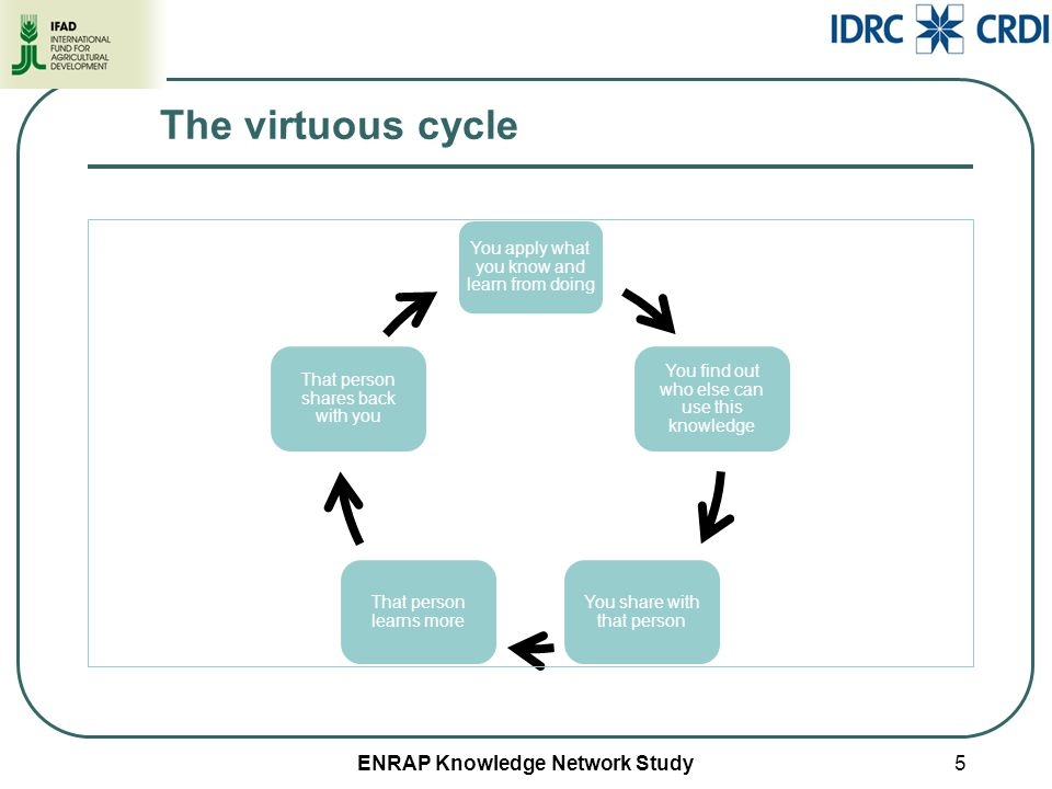 ENRAP Knowledge Network Study5 The virtuous cycle You apply what you know and learn from doing You find out who else can use this knowledge You share with that person That person learns more That person shares back with you