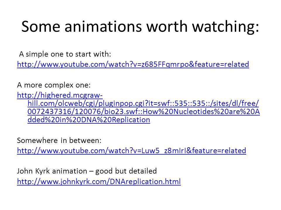 Some animations worth watching: A simple one to start with: http://www.youtube.com/watch?v=z685FFqmrpo&feature=related A more complex one: http://high