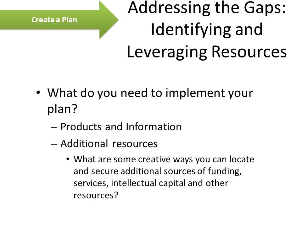 Addressing the Gaps: Identifying and Leveraging Resources What do you need to implement your plan.