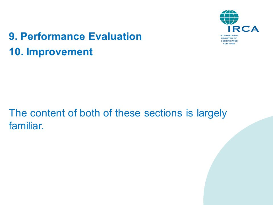 9. Performance Evaluation 10. Improvement The content of both of these sections is largely familiar.