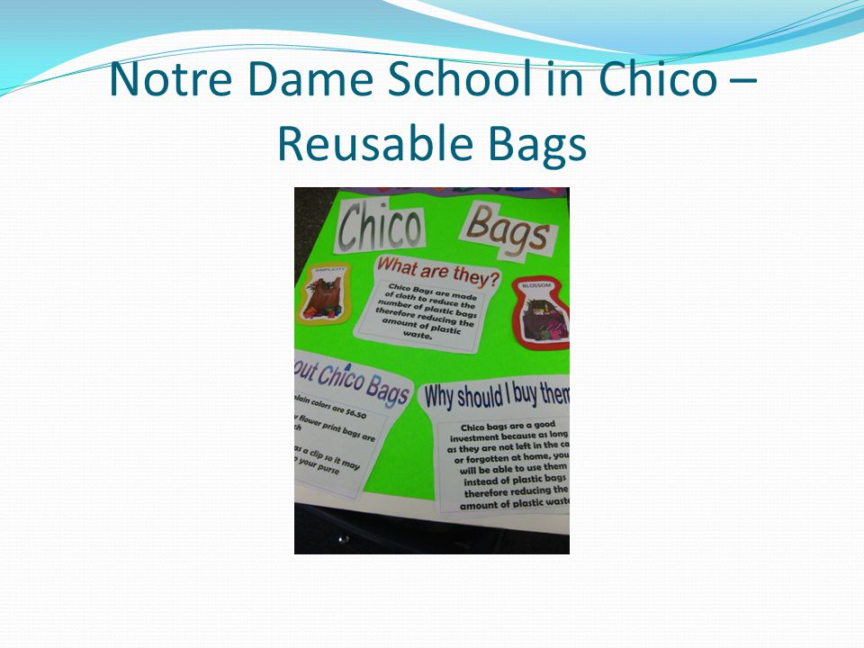 Notre Dame School in Chico – Reusable Bags
