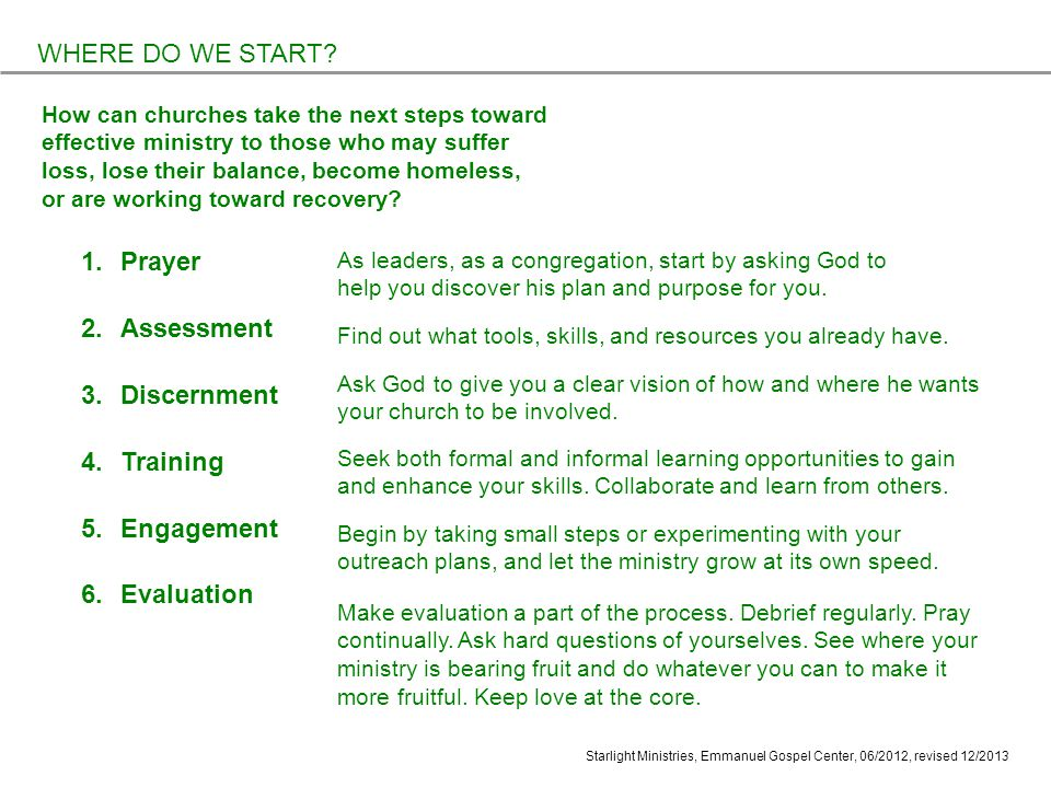 Starlight Ministries, Emmanuel Gospel Center, 06/2012, revised 12/ Prayer 2.Assessment 3.Discernment 4.Training 5.Engagement 6.Evaluation WHERE DO WE START.