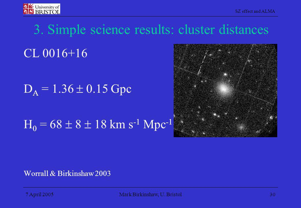 SZ effect and ALMA 7 April 2005Mark Birkinshaw, U. Bristol30 3. Simple science results: cluster distances CL 0016+16 D A = 1.36  0.15 Gpc H 0 = 68 