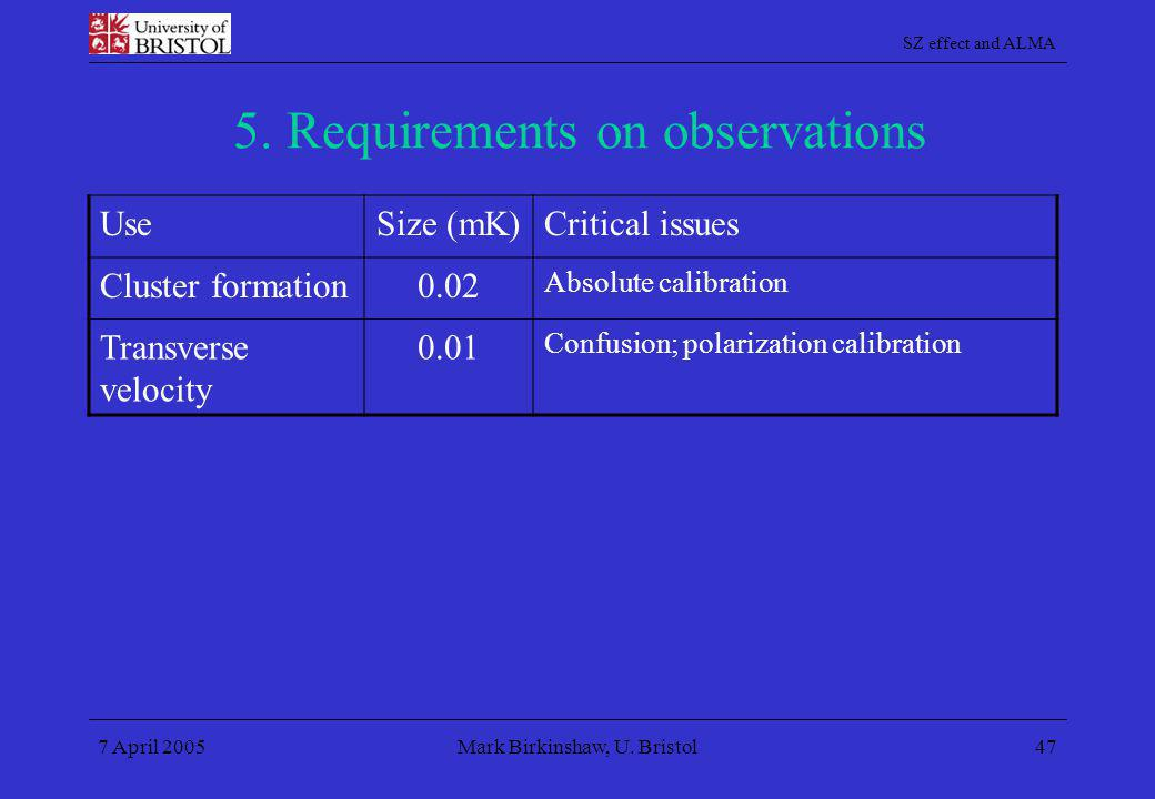 SZ effect and ALMA 7 April 2005Mark Birkinshaw, U. Bristol47 5. Requirements on observations UseSize (mK)Critical issues Cluster formation0.02 Absolut