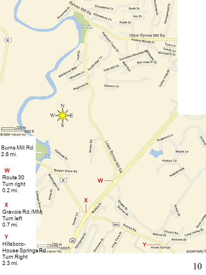 10 W X Y Y Burns Mill Rd. 2.6 mi. W Route 30 Turn right 0.2 mi.