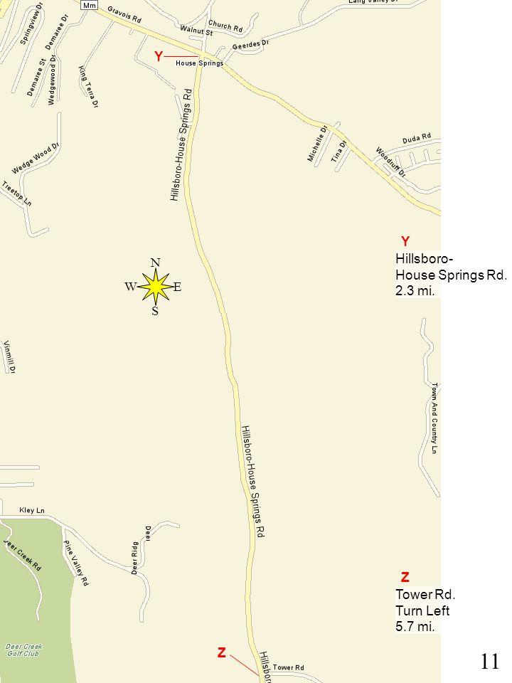 11 Y Z Y Hillsboro- House Springs Rd. 2.3 mi. Z Tower Rd. Turn Left 5.7 mi. N E S W