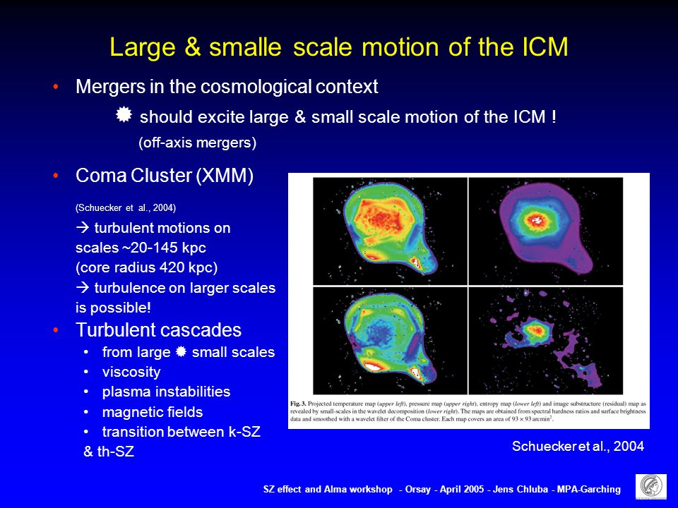 Large & smalle scale motion of the ICM SZ effect and Alma workshop - Orsay - April 2005 - Jens Chluba - MPA-Garching Mergers in the cosmological context  should excite large & small scale motion of the ICM .