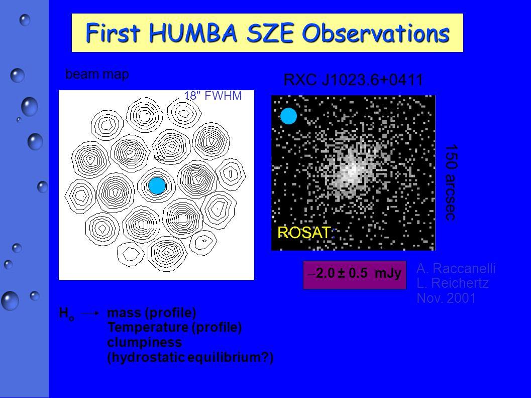 First HUMBA SZE Observations 150 arcsec RXC J1023.6+0411 beam map 18 FWHM ROSAT : A.
