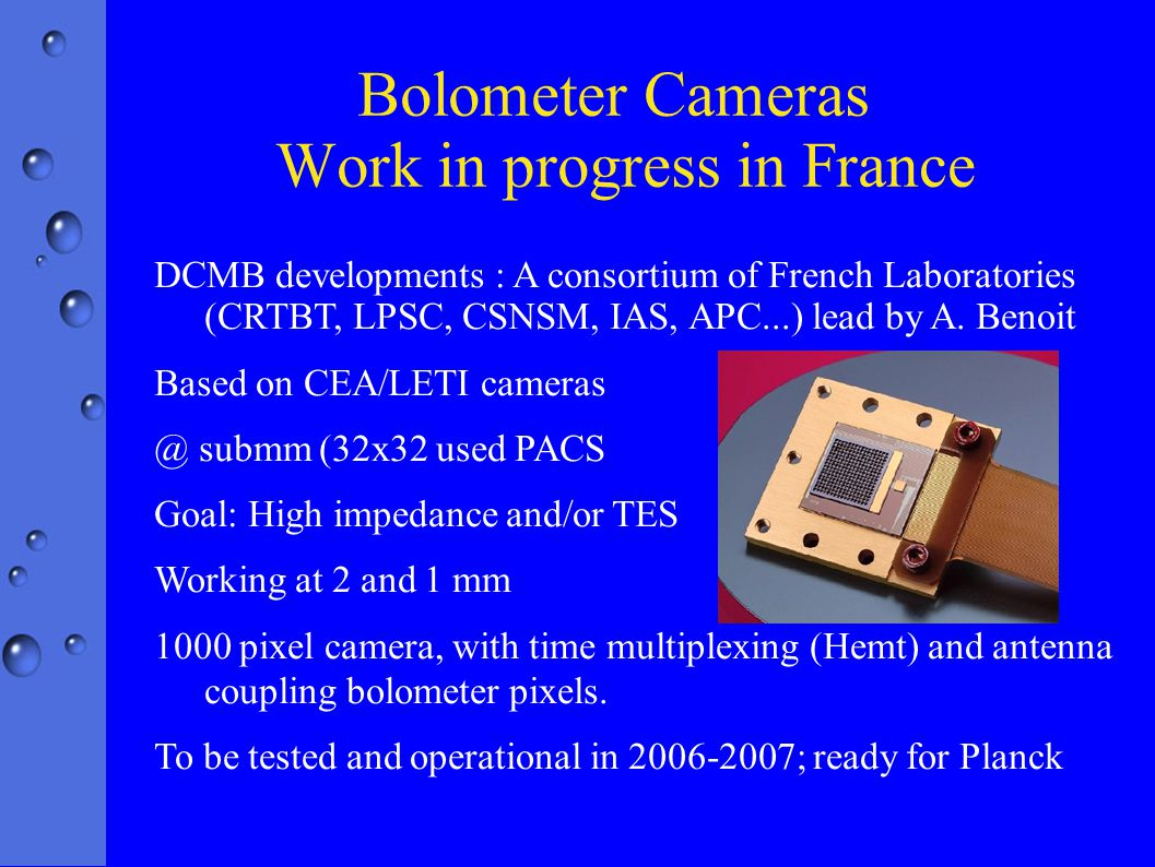 DCMB developments : A consortium of French Laboratories (CRTBT, LPSC, CSNSM, IAS, APC...) lead by A.