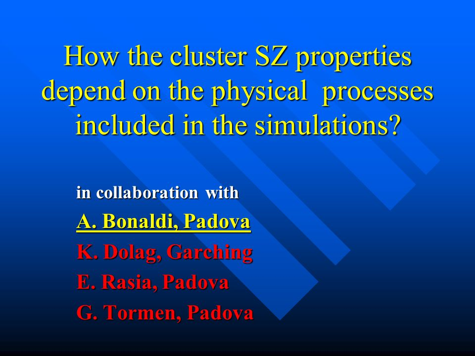 How the cluster SZ properties depend on the physical processes included in the simulations? in collaboration with A. Bonaldi, Padova K. Dolag, Garchin