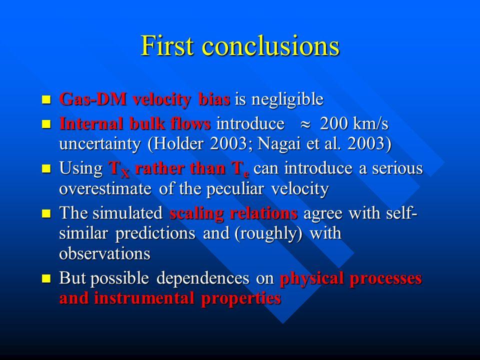 First conclusions Gas-DM velocity bias is negligible Gas-DM velocity bias is negligible Internal bulk flows introduce  200 km/s uncertainty (Holder 2003; Nagai et al.