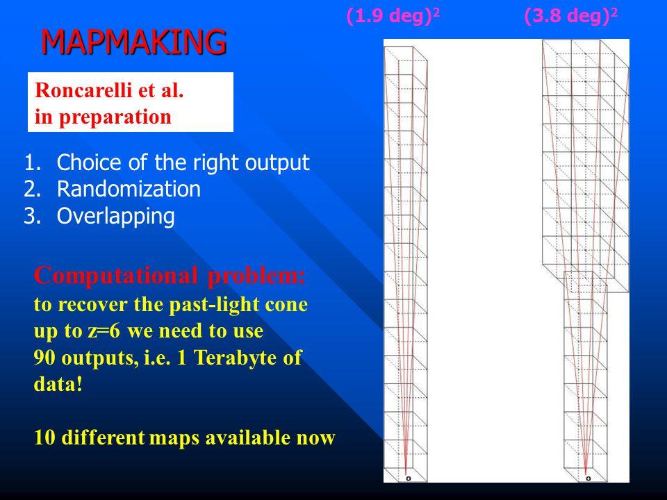 MAPMAKING (1.9 deg) 2 (3.8 deg) 2 1.Choice of the right output 2.Randomization 3.Overlapping Roncarelli et al.