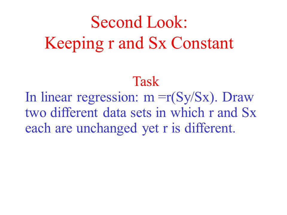 Second Look: Keeping r and Sx Constant Task In linear regression: m =r(Sy/Sx).