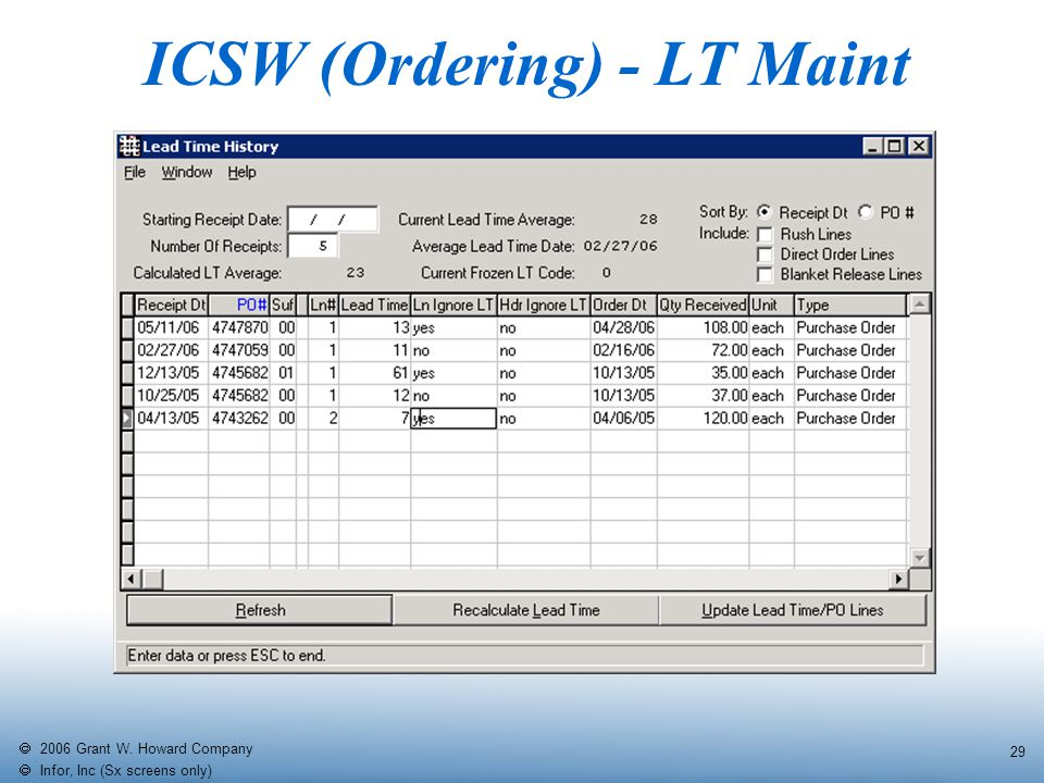   2006 Grant W. Howard Company   Infor, Inc (Sx screens only) 29 ICSW (Ordering) - LT Maint