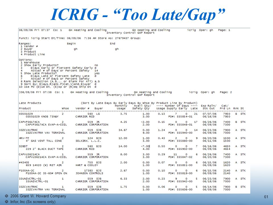  2006 Grant W. Howard Company   Infor, Inc (Sx screens only) 61 ICRIG - Too Late/Gap
