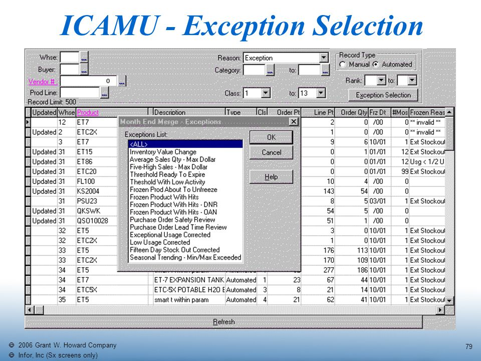   2006 Grant W. Howard Company   Infor, Inc (Sx screens only) 79 ICAMU - Exception Selection