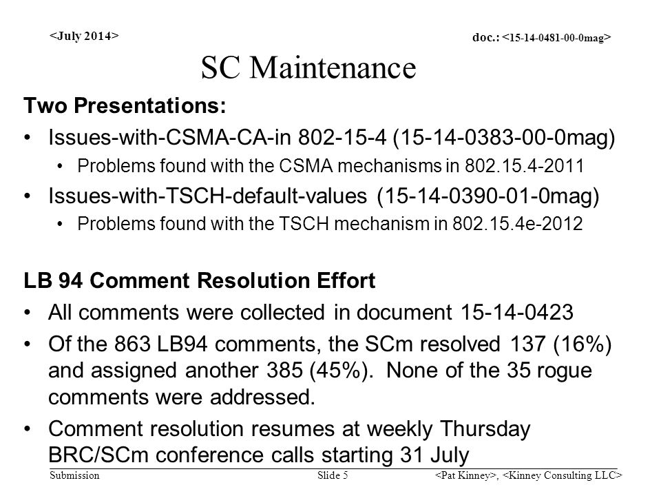 doc.: Submission SC Maintenance Two Presentations: Issues-with-CSMA-CA-in 802-15-4 (15-14-0383-00-0mag) Problems found with the CSMA mechanisms in 802.15.4-2011 Issues-with-TSCH-default-values (15-14-0390-01-0mag) Problems found with the TSCH mechanism in 802.15.4e-2012 LB 94 Comment Resolution Effort All comments were collected in document 15-14-0423 Of the 863 LB94 comments, the SCm resolved 137 (16%) and assigned another 385 (45%).