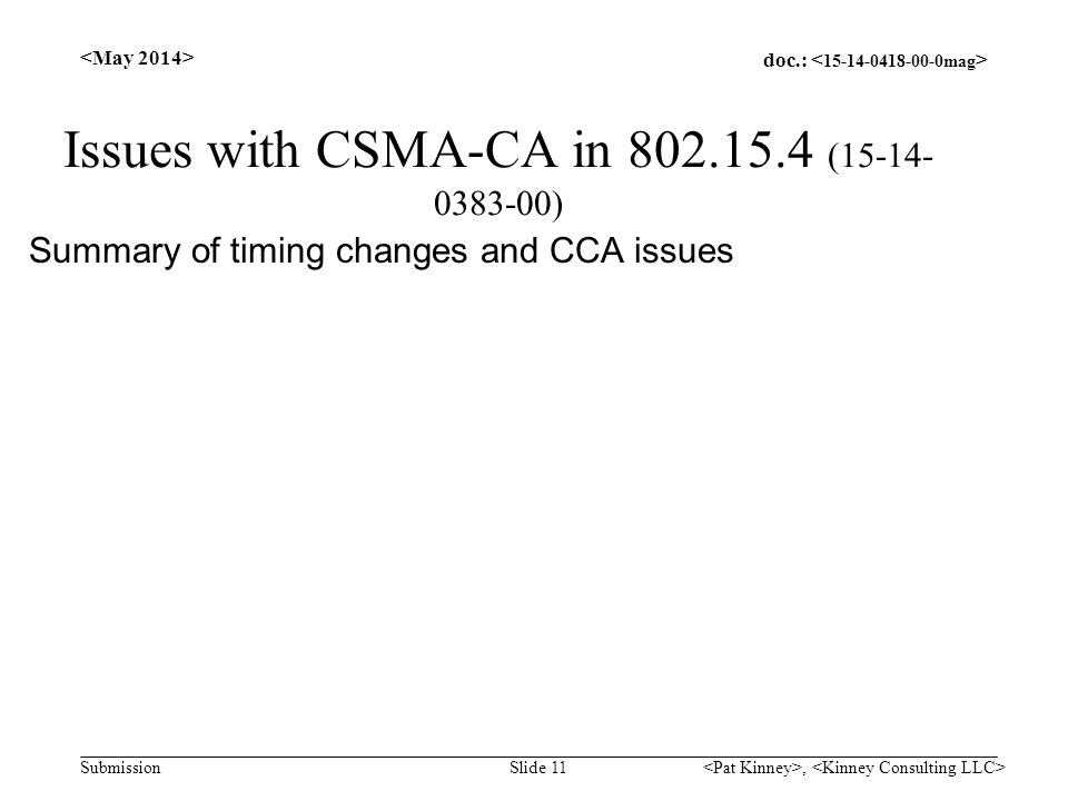 doc.: Submission Issues with CSMA-CA in 802.15.4 (15-14- 0383-00) Summary of timing changes and CCA issues Slide 11,