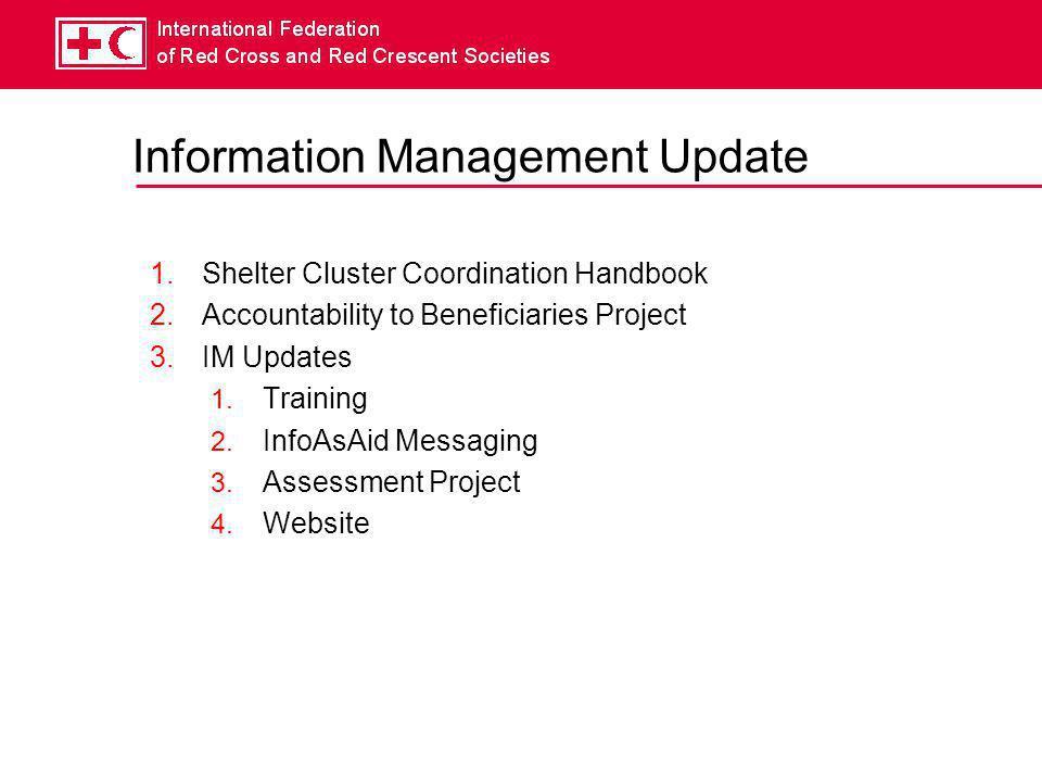 1 Shelter Cluster Coordination Handbook  Objectives  Succinct, Short (i.e.