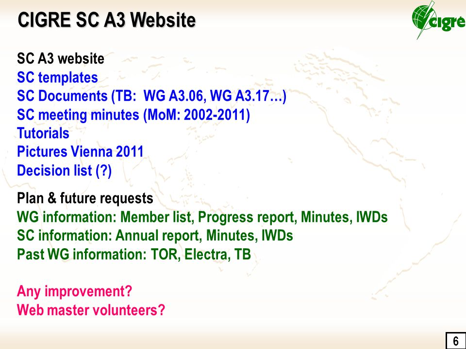 6 CIGRE SC A3 Website SC A3 website SC templates SC Documents (TB: WG A3.06, WG A3.17…) SC meeting minutes (MoM: 2002-2011) Tutorials Pictures Vienna