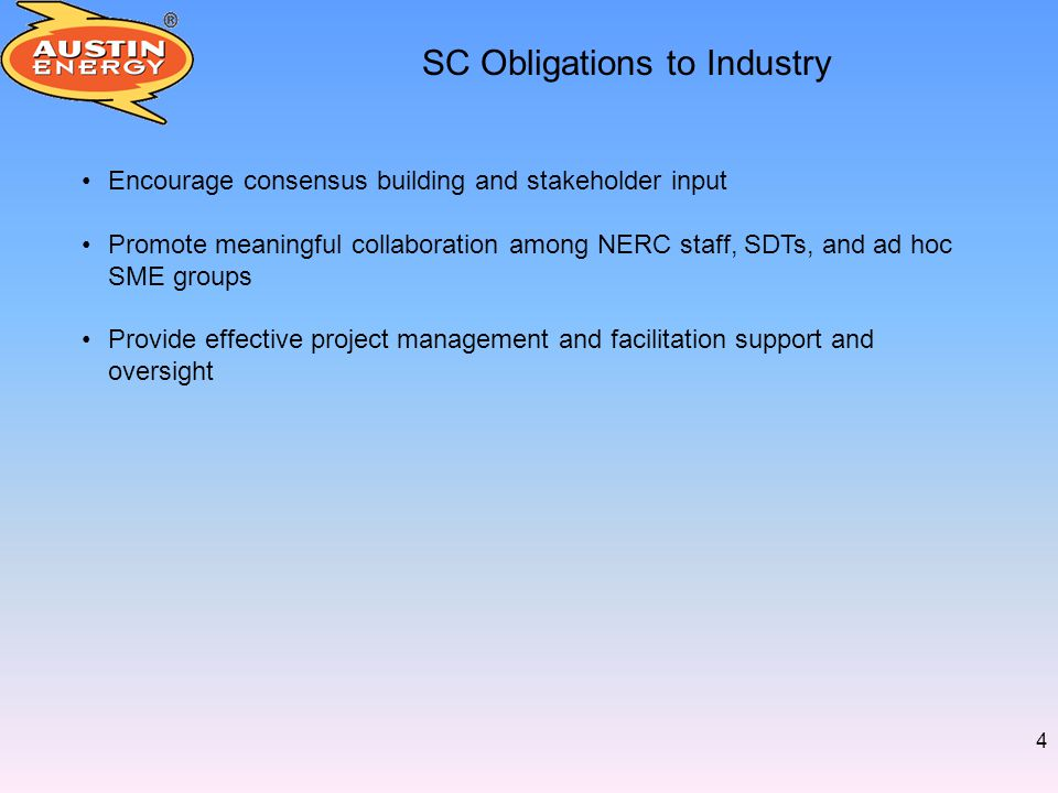 5 SC Work Plan - Tasks Review SC Charter (Complete!) Review Standards Processes and Procedures (In Progress) Execute Reliability Standards Development Plan (In Progress) Integrate interaction with Reliability Issue Steering Committee (RISC) (Guidelines for interaction approved) Improve stakeholder training and outreach (In Progress) Align work of SC, subcommittees, and affiliated working groups (In Progress) Increase access to subject matter experts (In Progress) Increase collaboration with standing committees, trades, NERC staff, Regional Entity staff (In Progress)