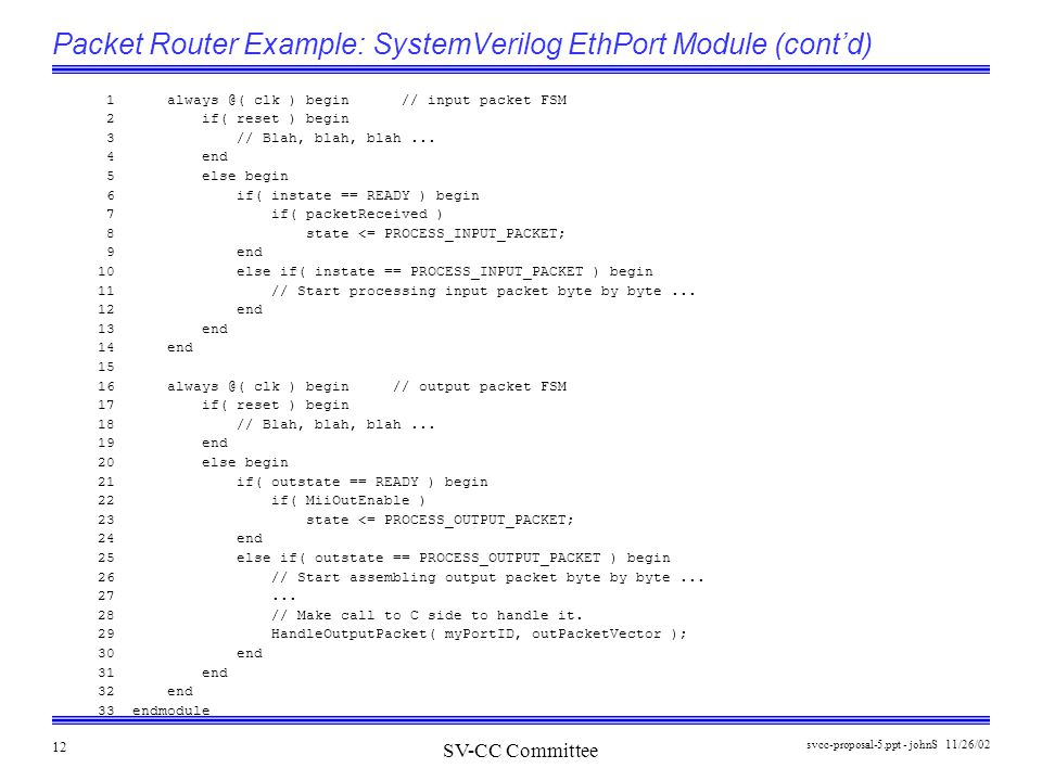 SV-CC Committee 11/26/02svcc-proposal-5.ppt - johnS 12 Packet Router Example: SystemVerilog EthPort Module (cont'd) 1 always @( clk ) begin // input packet FSM 2 if( reset ) begin 3 // Blah, blah, blah...