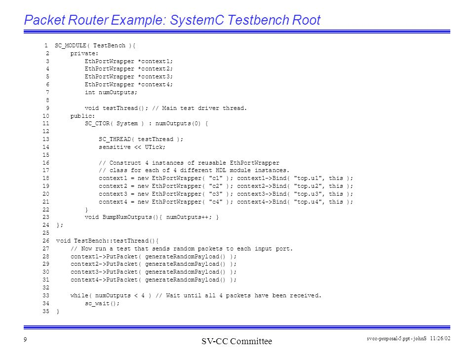 SV-CC Committee 11/26/02svcc-proposal-5.ppt - johnS 9 Packet Router Example: SystemC Testbench Root 1 SC_MODULE( TestBench ){ 2 private: 3 EthPortWrapper *context1; 4 EthPortWrapper *context2; 5 EthPortWrapper *context3; 6 EthPortWrapper *context4; 7 int numOutputs; 8 9 void testThread(); // Main test driver thread.