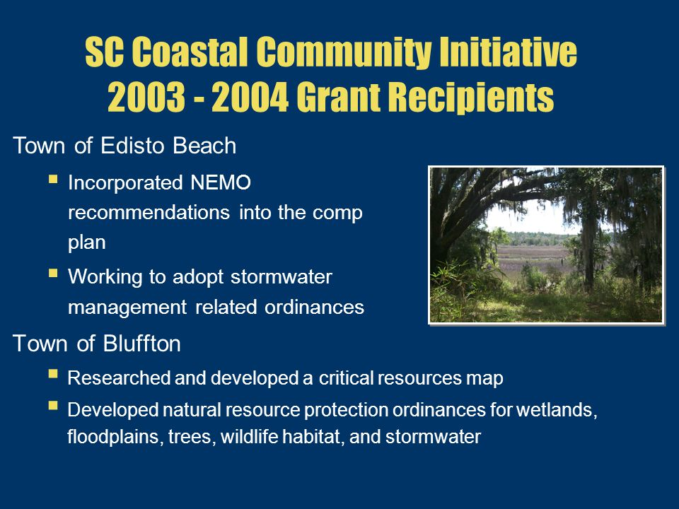 SC Coastal Community Initiative 2003 - 2004 Grant Recipients Town of Bluffton  Researched and developed a critical resources map  Developed natural resource protection ordinances for wetlands, floodplains, trees, wildlife habitat, and stormwater Town of Edisto Beach  Incorporated NEMO recommendations into the comp plan  Working to adopt stormwater management related ordinances