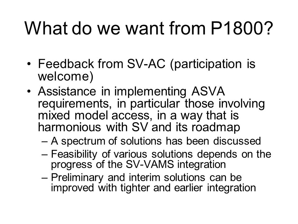 What do we want from P1800.