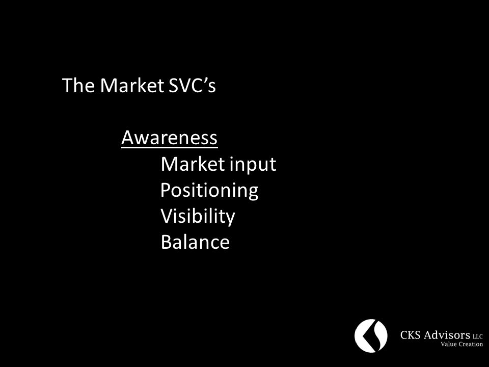 The Market SVC's Awareness Market input Positioning Visibility Balance