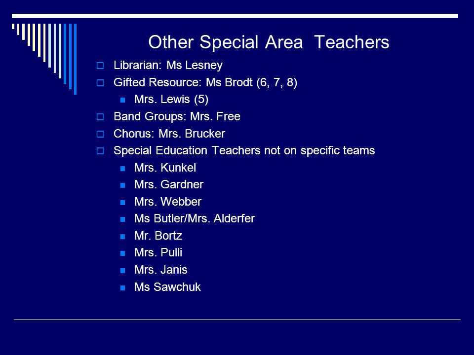 Other Special Area Teachers  Librarian: Ms Lesney  Gifted Resource: Ms Brodt (6, 7, 8) Mrs.