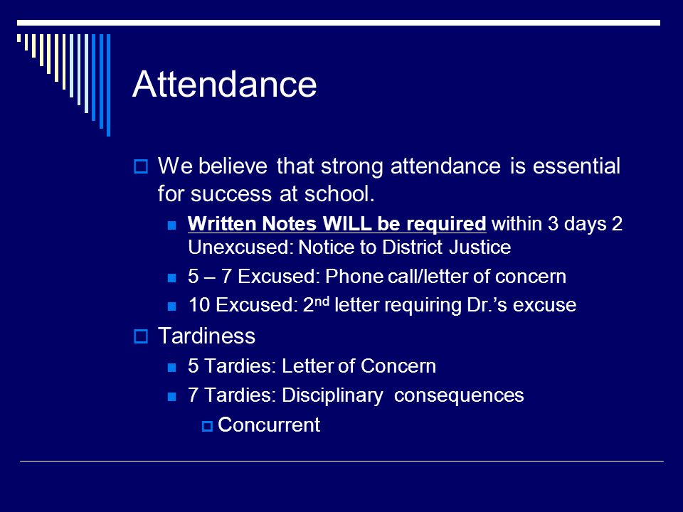 Attendance  We believe that strong attendance is essential for success at school.