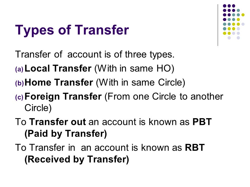 Types of Transfer Transfer of account is of three types.