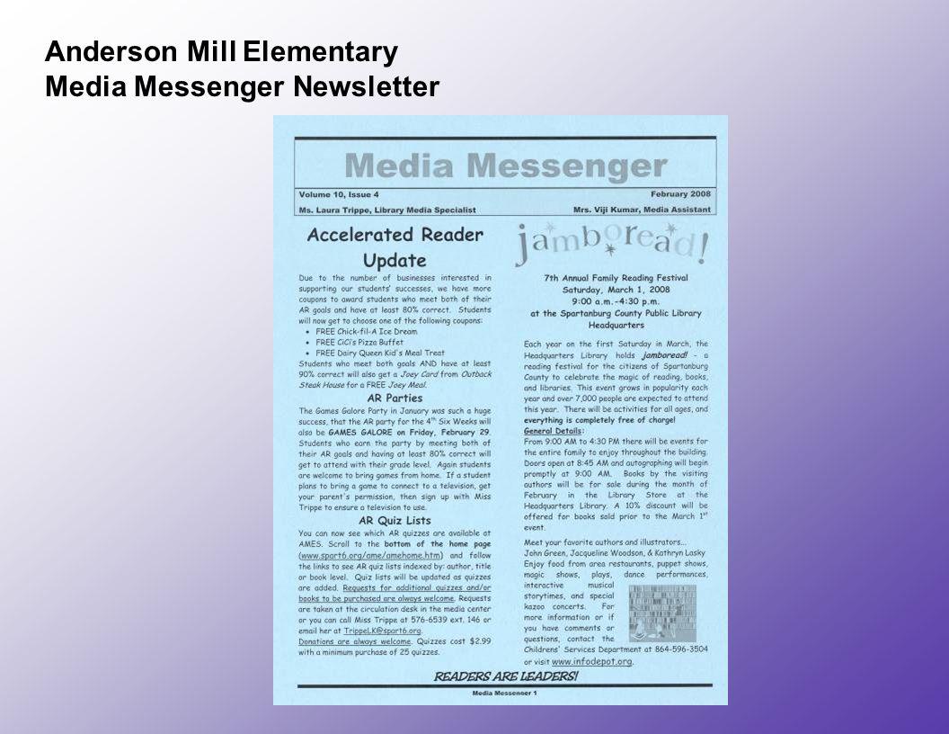 Anderson Mill Elementary Media Messenger Newsletter