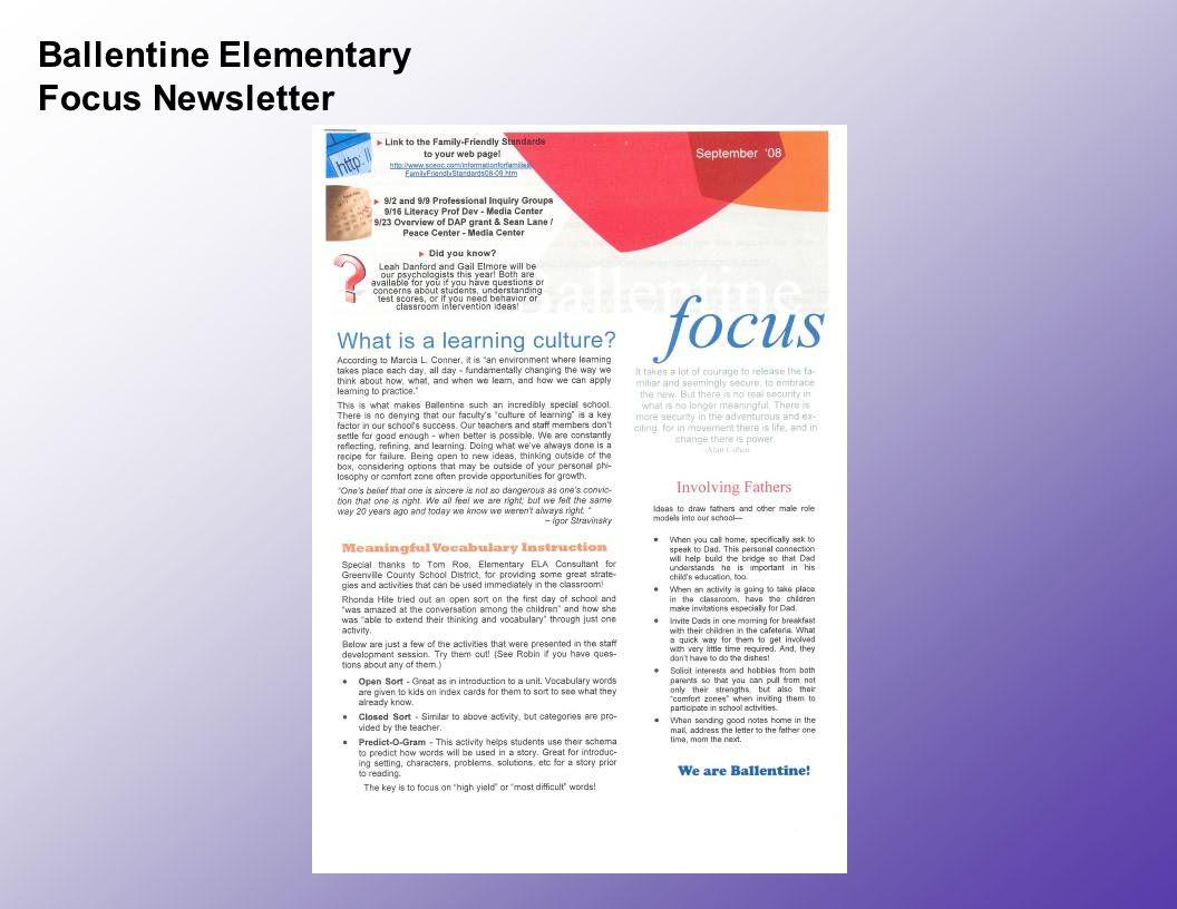 Ballentine Elementary Focus Newsletter