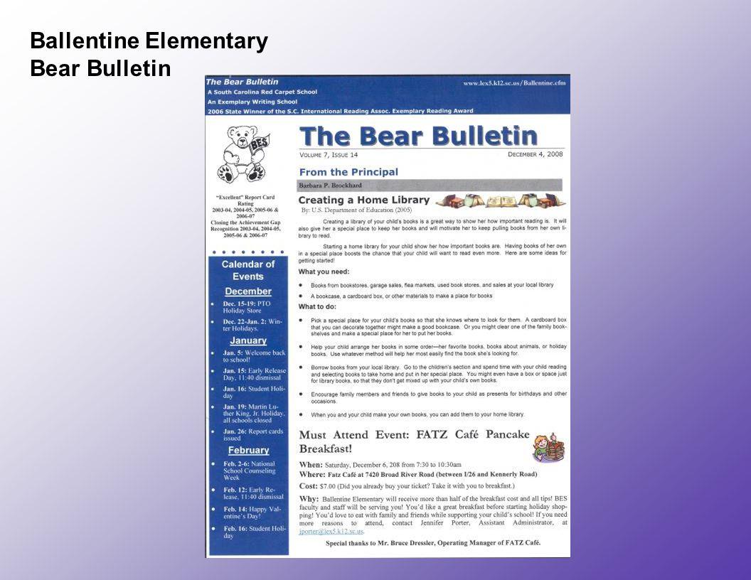 Ballentine Elementary Bear Bulletin