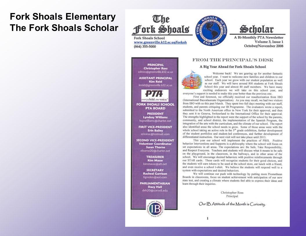 Fork Shoals Elementary The Fork Shoals Scholar