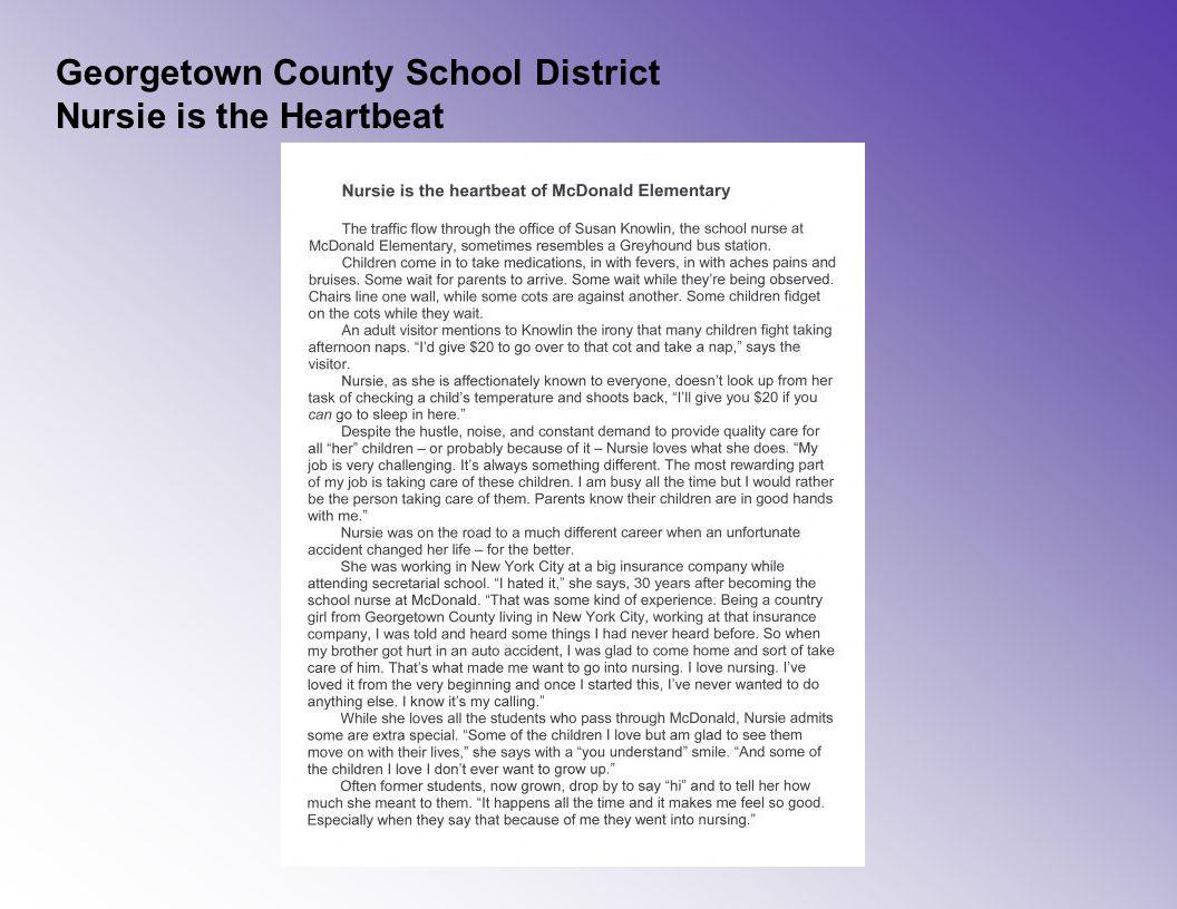 Georgetown County School District Nursie is the Heartbeat