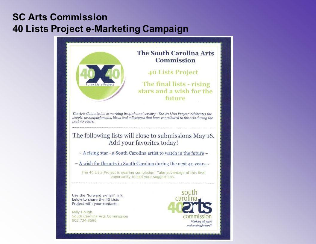SC Arts Commission 40 Lists Project e-Marketing Campaign